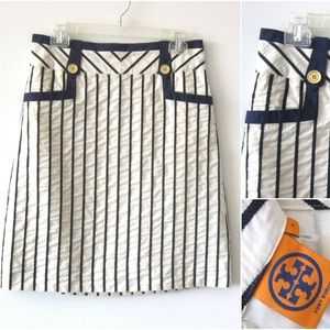 NWOT TORY BURCH SKIRT WITH GOLD BUTTONS Sz-6 $198